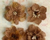 "Natural Burlap Flowers -Set of 4 fabric flowers 2"" brown blossoms 1200-000 headband flowers rustic flowers wedding decorations scrapbooking"