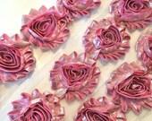 "SHINY PINK Shabby Rose Trim 2.5"" Shabby Flowers Shabby Chiffon Flowers Shabby Chic Trim Wholesale Rosette trim silver & pink 6cm trim"