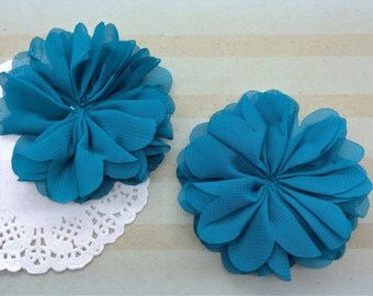 Teal Chiffon Ballerina Flowers Scalloped edges Hallie DIY Blue flowers wholesale flowers wedding bridesmaids baby headband embellishment