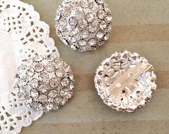 "3 pcs - Crystal Rhinestone embellishment with brooch pin - 30mm  1.25"" silver rhinestone bridal wedding accessories vintage brooch pin"