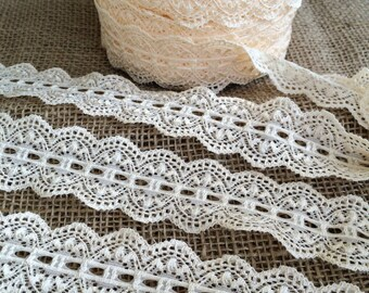 "Lace Elastic 1.5"" inch Ivory Cream Lace Stretch Elastic trim baby headband  lace elastic wedding garter lingerie lace - 3, 5 or 10 yards"
