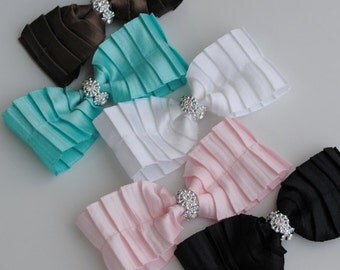 Pleated Satin Bow Collection, Set of 5, Hair Clip, Rhinestone, Baby, Girls, White, Pink, Turquoise, Brown, Black, Alligator, Snap, Barrette