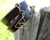 Golden L.O.Z. Triforce Bracelet on Thick Brown Leather