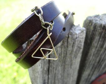 Golden L.O.Z. Triforce Bracelet on Thick Brown Leather