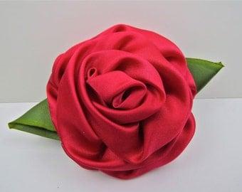 Handmade Silk, Red Rose Pin