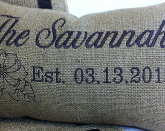 Burlap Decorative Throw Pillow Cover - 10 inch by 16 inch - Custom Made for wedding venue or bridal salon - Embroidered