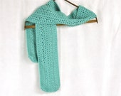 Vintage Knit Scarf Muffler Celadon Seafoam Green Unisex Neckwear Winter Fashion Hand Made Crochet