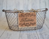 """Rustic Wedding """"Bubbles"""" Sign (4 x 5"""")  for Your Rustic, Country, Shabby Chic Wedding- Ready to Ship"""