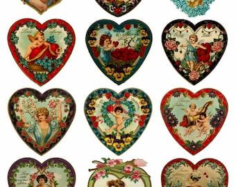 Valentine's Hearts V4 Collage Sheet, Full Color, Vivid, Love, Wedding, Engagement, Hearts - Digital Download JPG file by Swing Shift Designs