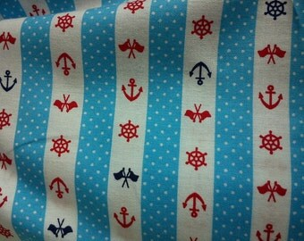 Marine motif in aqua, fat quarter, pure cotton fabric