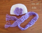 """2 piece set crochet doll hat and scarf fit 18"""" dolls and American Girl Dolls Ready to Ship Soft White &  Orchid"""