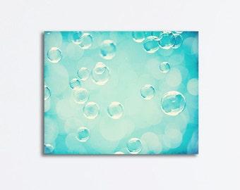 Bathroom Canvas Print Art Soap Bubbles Aqua Blue Wall Art Laundry Room Decor Modern Canvas