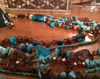 50%OFF Turquoise and brown multi- strand necklace set.