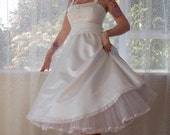 1950s 'Lucille'  Rockabilly Style Wedding Dress with a Lace Bodice, Tea Length Skirt and Organza Petticoat and Sash - custom made to fit