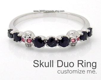 Skull ring, as long as we both shall live, thin wedding band,  stackable ring, black diamond eternity ring, gold skull ring, D315 14K