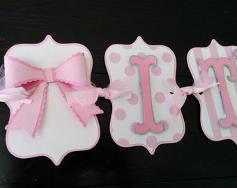 "3D Bow banner ""It's A Girl"" banner, Baby Shower Banner. Name banner, happy birthdy banner in pink & white"