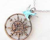 graduation gift, compass necklace, blue bird jewelry, gift for best friend going away gift, blue bird of happiness jewelry, moving away gift