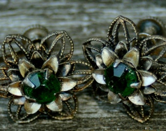 1920s Sterling Silver Filigree Screw-Back Earrings with Gorgeous Green Stones.
