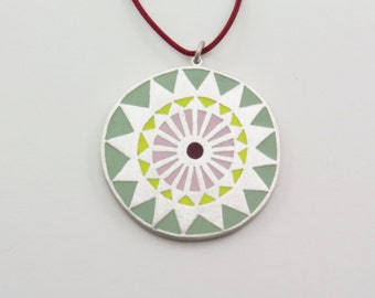 MANDALA sterling silver and polymer clay pendant in light green, neon yellow, light pink and maroon