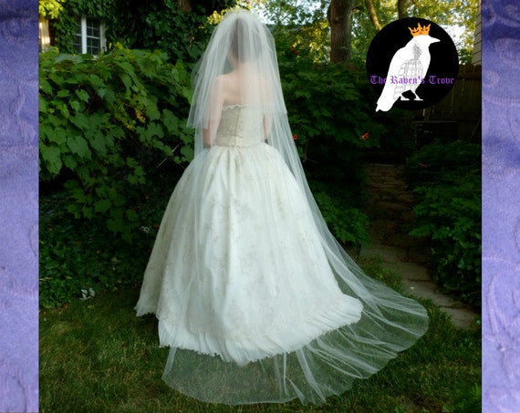 Ivory Bridal Veil Chapel Length with Blusher