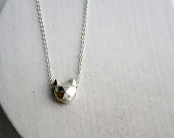Faceted Cat Sterling Silver Necklace