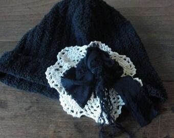 Gypsy boho bohemian knit hat, vintage doily, tattered roses