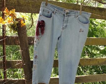 Gypsy boho bohemian Shabby chic French chic hippie capri jeans