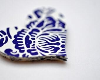 SALE- 100 Blue & White Letterpress Paper Hearts // Embellishment // Confetti // Decoration // Die Cut // Paper Hearts