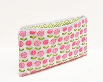 zipper pouch pencil case flowers pink