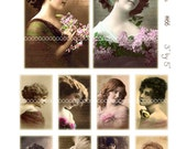 Digital Clipart, instant download, Vintage Women--Vintage Beauties, Ladies--Photography, Sepia--Digital Collage Sheet (8.5 by 11 inches)  66