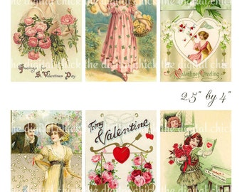 Digital Clipart, instant download, Vintage Valentine Cards--girls, women, roses--printable Digital Collage Sheet (8.5 by 11 Inches)  1336