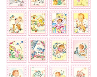 Digital Clipart, instant download, Vintage Baby Card Images babies baby girl toys stamps toys--8.5 by 11--Digital Collage Sheet  1515