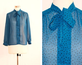 Vintage Sheer Peacock Blue Printed Blouse