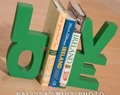 LOVE Wooden Bookends (wood bookends, St Patrick's Day decor, green, kelly green, nursery decor)