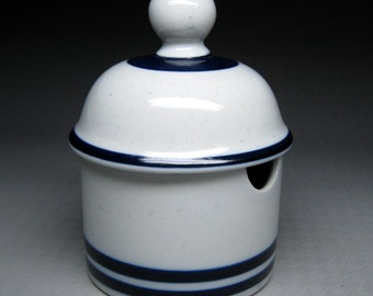 vintage DANSK blue mist ? pottery mustard / condiment jar with lid stoneware blue stripe CHRISTIANSHAVN ?