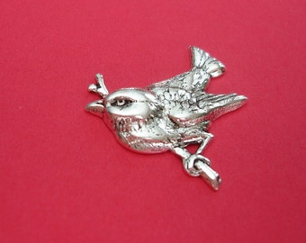 Bird on Branch Ox Silver  Brass Stamping Ornament  Art Deco Antiqued Silver Jewelry Findings.(4)