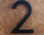 Modern House Number Aluminum Modern Font Number TWO 2 in Black