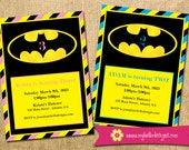 Batman Inspired Birthday Invitation - With or Without Photos - custom superhero invite kid child boy girl printable DIY birthday party