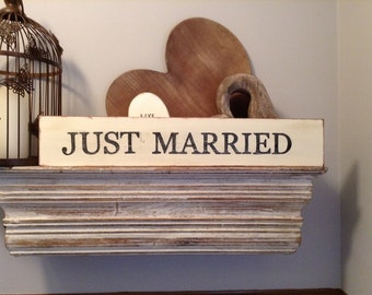 Large Wooden Sign - Personalised - Just Married - Rustic, Handmade, Shabby Chic, approx 50cm