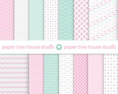 Valentine's Sale Digital Papers - Valentines Day - Mint Green Pink Gray - Fourteen 8.5 x 11 and 12 x 12 inch Print Ready PNG Files - ID 1083