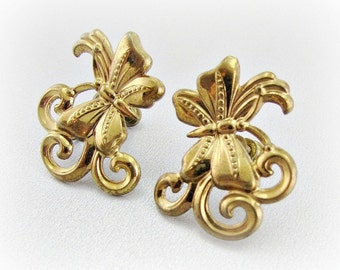 Vintage Gold Butterfly Earrings, Gold Insect Bug Earrings, Screw-back Earrings, 1950s Costume Jewelry, Antique Figural Jewelry