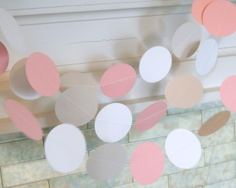 Baby shower decorations - 10ft White Pink and Gray Garland - Its a Girl Decor- Paper Garland- your color choice