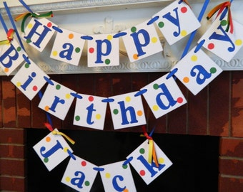 Happy Birthday Banner / Boy or Girl 1st 2nd Birthday Decorations / Primary Colors 1st birthday banner / Your Color Choices