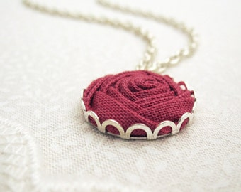 Deep Rose Bridesmaid Necklace - Fabric Flower - Romantic, Vintage, Dream Wedding