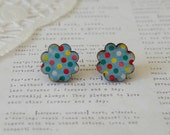 Wooden Round Scallopped Light Blue with Polka Dot Stud Earrings