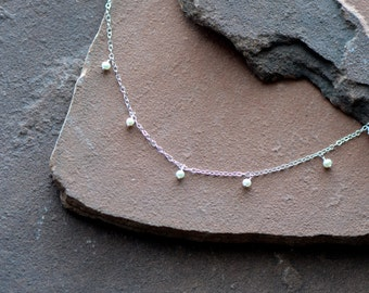 "Freshwater Pearl Necklace, Dangling Seed Pearls, Delicate Silver Chain ""Pearls by the Inch"""