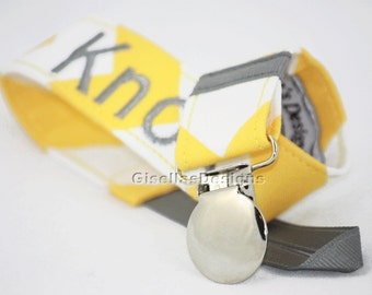 Yelow chevron and gray Personalized Pacifier Clip, Baby shower gifts, Baby Pacifier Clip, chevron pacifier clip