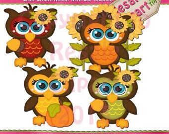 LiL Fall Owls Clipart (Digital Download)
