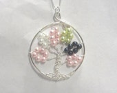 Tree Pendant - birthstones - family tree - tree of life - mother - grandmother - family - wire-wrapped pendant