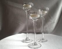 Long Stem Glass Tealight Candleholders Centerpiece Candle Holders